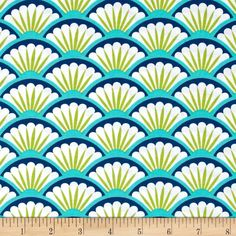 Michael Miller Suzette Fan Dance Sea from @fabricdotcom  Designed for Michael Miller Fabrics. This fabric is perfect for quilting, craft projects, apparel and home decor accents. Colors include blue, teal, green and off-white.