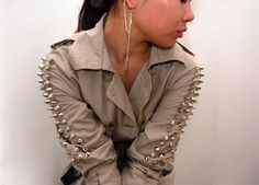 (studs and pearls): diy: Studded Trench Coat
