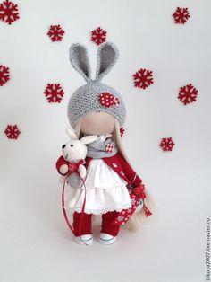 Куклы тыквоголовки ручной работы. Ярмарка Мастеров - ручная работа. Купить Новогодняя Зайка. Handmade. Кукла интерьерная, хлопок