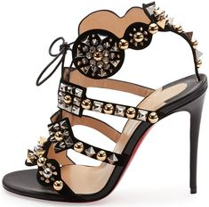 Christian Louboutin 'Kaleikita' Spiked Lace-Up 100mm Red Sole Sandals