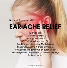 Try this natural essential oil ear ache relief blend. Combine Basil, Lavender, Melaleuca, and Grapeseed oil to a bottle and apply to outer parts of the ear for a natural pain reliever and antibacterial. 100 Pure Essential Oils, Essential Oil Diffuser Blends, Young Living Essential Oils, Ear Ache Essential Oil, Oils For Ear Ache, Young Living Oils, Eos, Painful Joints, Bottle