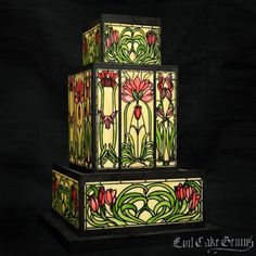 Stained Glass Art Nouveau Tulip Three Stencil Set
