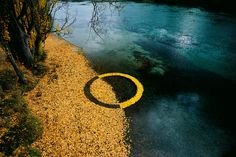 Using sticks, leaves, stones and ice, environmental artist and photographer Martin Hill and his partner Philippa Jones have been exploring cycles of nature by creating temporary circular sculptures for over 20 years.  http://www.thisiscolossal.com/2014/01/ephemeral-environmental-sculptures-evoke-cycles-of-nature/