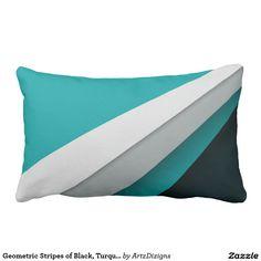 Geometric Stripes of Black, Turquoise and White  http://www.zazzle.com/artzdizigns?rf=238365382999242687