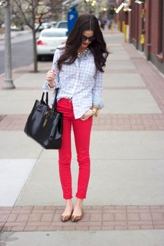 Love the gingham and colored skinny jeans