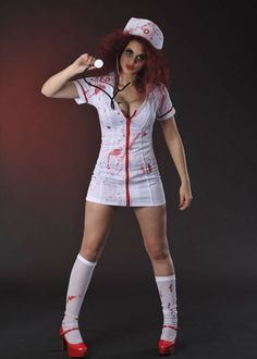 A perfect outfit for Halloween! Halloween Zombie, Zombie Nurse Costume, Nun Halloween Costume, Halloween 2019, Halloween Outfits, Halloween Makeup, Halloween Party, Pretty Blonde Girls, Trucks And Girls