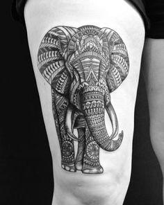 Elefant Tattoo schwarz Bein