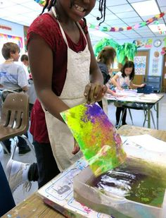 In the Art Room: Chalk Prints and Shaving Cream Marbling