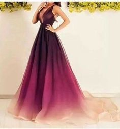 Gradient purple Prom Dresses,A-line prom dress,long prom Dress,formal prom dress,new arrive evening dress 2017,BD2806