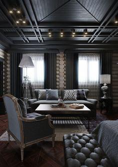 Dark bedroom interior 3d rendering