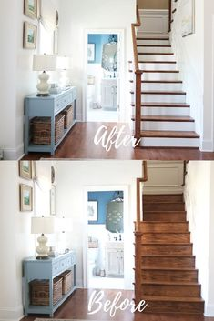 Are you looking for ideas on updating your staircase and painting the stained risers white? Here's your guide to prepping, choosing the right paint, and painting stained stair risers white. White Stair Risers, White Staircase, Wood Staircase, Staircase Design, Stairs White And Wood, Painting Wooden Stairs, Painted Stair Risers, Painted Staircases, Staircase Painting