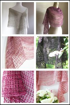 Project Love: Rosewater - Click through to see eight gorgeous Rosewater shawls with fabulous yarn suggestions.