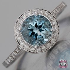 Art Deco Aqua Engagement Ring $1950.00