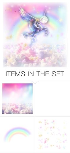 """""""ROLL ME IN FAIRYDUST AND CALL ME A UNICORN"""" by larissa-takahassi ❤ liked on Polyvore featuring art, rainbow, wings, magic, unicorn and fairydust"""