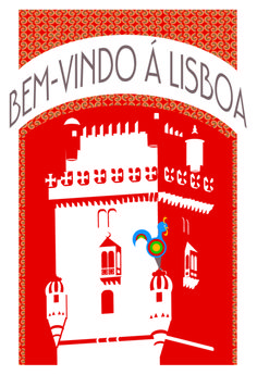 Lisbon, Portugal  travel poster inspired by art deco style  VSCM 100