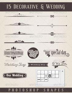 15 Decorative & Wedding Shapes #photoshop #wedding