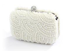 Elegant Soft Cream Deco Pearl Wedding Minaudiere Clutch Purse - Affordable Elegance Bridal -