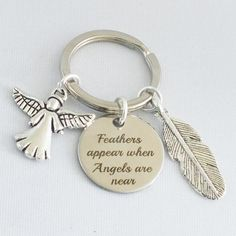 """/""""Feathers appear when angels are near/"""" charm antique silver relief alloy x 10"""