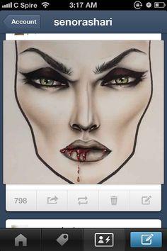 Vampire. Halloween. Makeup. Face charts.