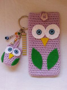 Owl crochet phone cover and key chain…