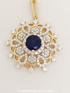 Diamond Sapphire Pendant Design ~ South India Jewels