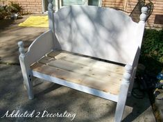 Bench made from twin headboard and footboard.  Beautiful! | a.steed's.life