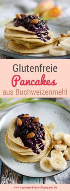 Simple and delicious gluten-free pancakes with buckwheat flour-Einfache und leckere glutenfreie Pancakes mit Buchweizenmehl Recipe for gluten-free buckwheat flour pancakes with almond blueberries - Paleo Recipes Easy, Snack Recipes, Dessert Recipes, Breakfast Pancakes, Breakfast Recipes, Buckwheat Pancakes, Breakfast Ideas, Skinny Pancakes, Pancake Muffins