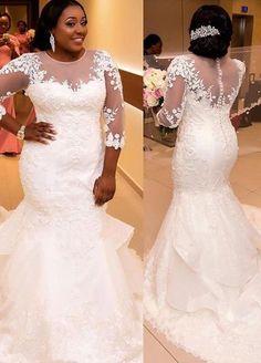 Mermaid sheer court train lace plus size bridal gown Plus Size Brides, Plus Size Wedding Gowns, Wedding Dresses Plus Size, Dream Wedding Dresses, Bridal Dresses, Bridesmaid Dresses, Lace Dresses, Black People Weddings, Curvy Bride
