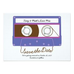 Retro Indie Mixtape Purple / Blue Save the Date Cards Funny Wedding Invitations, Save The Date Invitations, Wedding Invitation Design, Save The Date Cards, Birthday Party Invitations, Funny Save The Dates, Blue Save The Dates, 50th Birthday Party Ideas For Men, Practical Wedding