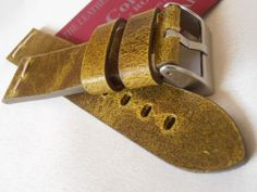 22mm ColaReb ROMA Vintage mustard color genuine leather watch strap band correa in Jewellery & Watches, Watches, Parts & Accessories, Wristwatch Straps | eBay £50.50