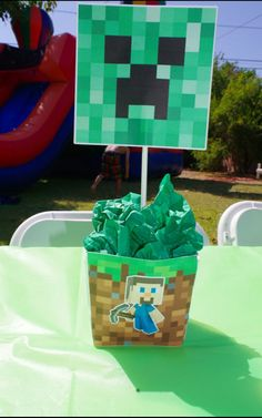 Minecraft Birthday Party Centerpiece and Decorations