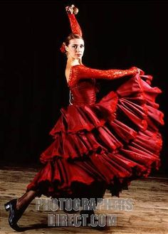 Flamenco dancer in red dress Spanish style possible Carmen connection Bulgarian National Opera & Ballet School c 2003 stock photo
