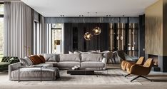 Luxury home with a modern glamorous interior. A cool grey colour scheme with gold and green decor accents modern furniture and unique designer lighting ideas. Gray Dining Chairs, Dining Nook, Home Office Design, House Design, Modern Furniture, Furniture Design, Globe Furniture, Fine Furniture, Furniture Stores