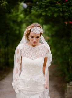 Elegant pink and lemon wedding inspiration. I don't like the lace and bead headpiece, but I love the dress and veil.