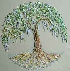 Embroidered picture Tree of Life by infantaShabbychic on Etsy