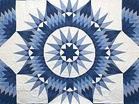 King Navy Blue and Cream Mariner's Star Quilt