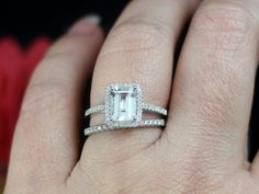 Forever Brilliant Moissanite & Diamond Emerald Halo Engagement ring Set With Band 14k White Yellow Rose Gold 1.75ct 8x6mm Other Gem an Metal
