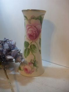 Prussia Hat Pin Holder HandPainted Rose by OldQuincySchoolhouse