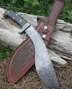 NEW: Damascus Kukri #Knife with Micarta Handle & sheath. Made in #Louisiana. BourbonandBoots.com