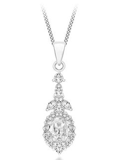 Tuscany Silver Sterling Cubic Zirconia Twist Drop On Curb Chain Of 46cm 18 Read More At The Image Link Necklaces Pinterest