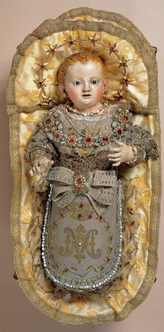 MARIA BAMBINA    A Baroque Clothed Statue from Southern Italy of Mary as a Baby.  italian - baroque