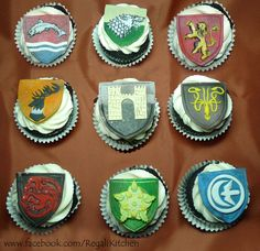 Love these! Game of Thrones Cupcakes with edible emblems of the nine Great Houses of Westeros! (The Regali Kitchen)