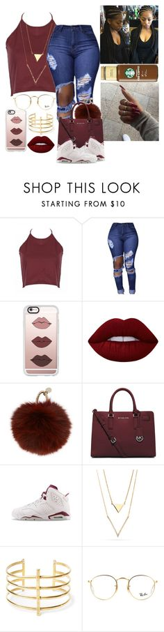 """""""Untitled#10💎🌴💎"""" by trxll-kiely ❤ liked on Polyvore featuring Casetify, Lime Crime, Yves Salomon, MICHAEL Michael Kors, NIKE, BauXo and Ray-Ban"""