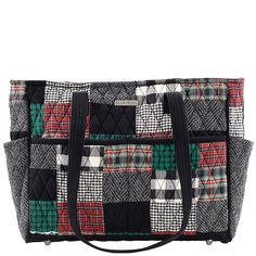 """The Gabby from the Bella Taylor Ivy Collection comes in a sophisticated patchwork of tartan red, ivy green and crisp black with a jet black microsuede trim, base and strap. Measuring 12"""" x 4"""" x 10.25"""", the Gabby features 4 outside slip pockets, 1 outside zip pocket, 4 inside slip pockets, 2 28"""" straps, which give a 13.5"""" shoulder drop, and reinforced stress points."""