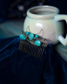 Moon in Turquoise wire wrapped hair comb Wedding jewellery bridal headpiece something blue for wedding