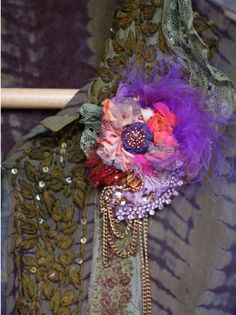 Diva  ethereal embroidered and beaded brooch mixed by FleurBonheur, $55.00