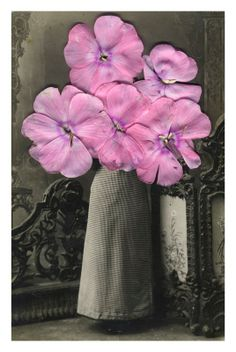 Julia Borissova: Old Photos of Russian Immigrants Transformed with Flower Petals