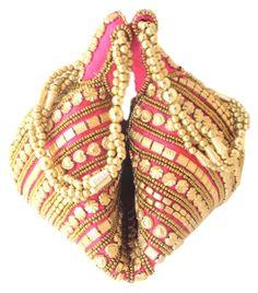 Handmade Satin Beadwork Potli Bag- Pink:Gifpiper.com