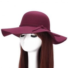 5224eb14f18 Chic Lace-Up Embellished Bright Color Felt Floppy Hat For Women