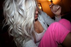 White blonde!!!!! this is what my hair will look like after bleaching it one more time : D-